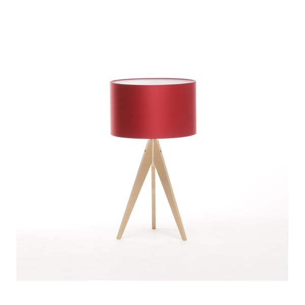 Červená stolní lampa Artist, bříza, Ø 33 cm