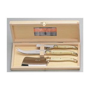 Set 3 tacâmuri pentru brânzeturi, în cutie de lemn, Jean Dubost Clever