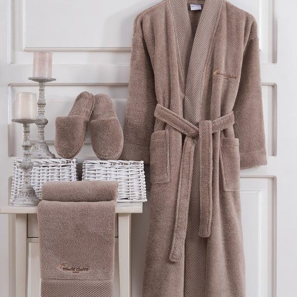 Komplet brązowego szlafroka damskiego w rozmiarze M, ręcznika i pantofli Bathrobe Komplet Lady