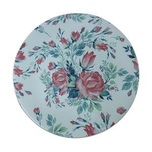 Modrý keramický talíř Roses, ⌀26cm