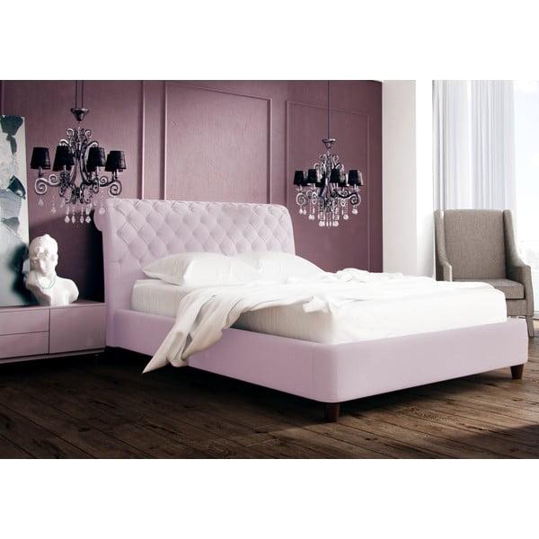 Pastelově růžová postel s přírodními nohami Vivonita Allon,140x200cm