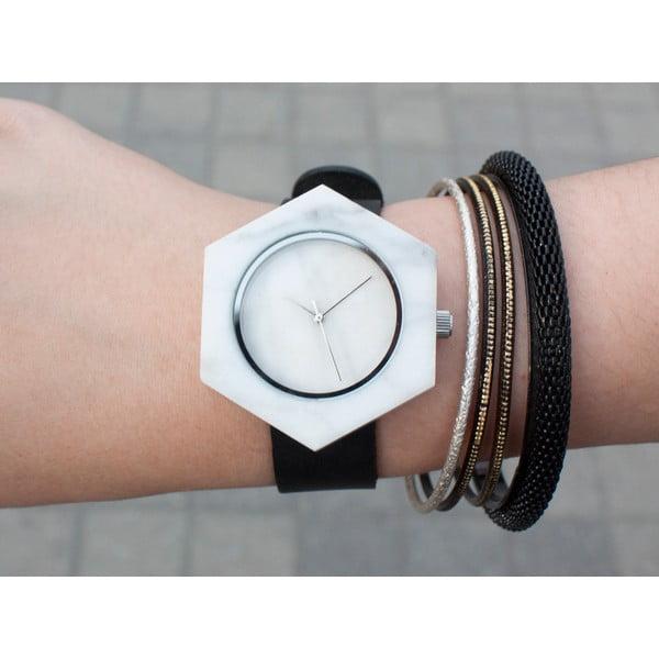 Bílé hranaté mramorové hodinky s černým řemínkem Analog Watch Co.