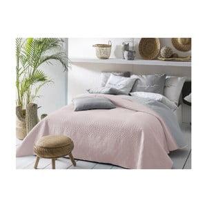 Růžovo-šedý oboustranný přehoz přes postel Slowdeco Buenos, 170 x 210 cm