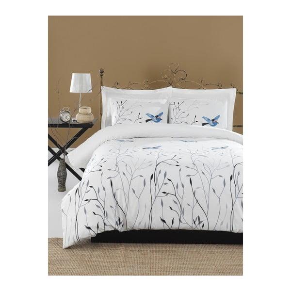 Lenjerie de pat cu cearșaf din bumbac ranforce, pentru pat dublu Mijolnir Fidella Blue, 200 x 220 cm