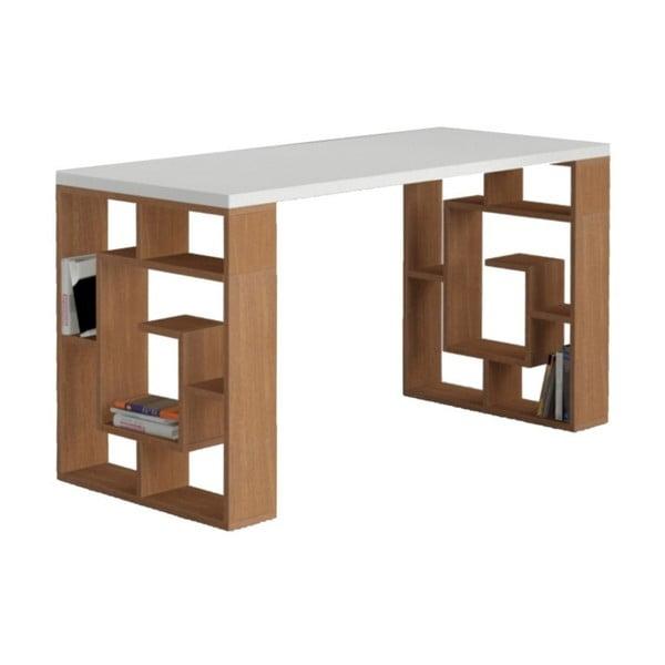 Pracovní stůl Labyrint, bílá/ořech
