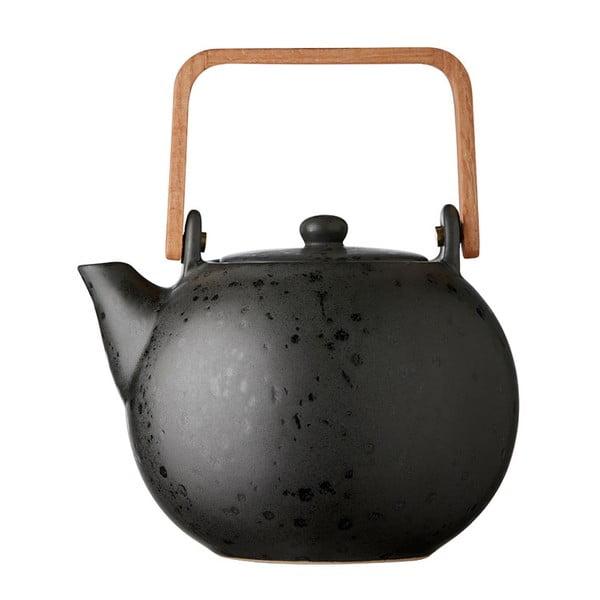 Čierna kameninová kanvička na čaj Bitz Basics Black, 1,2 l