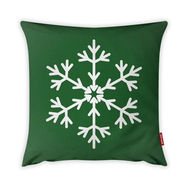 Față de pernă Vitaus Christmas Period Green Simple Snowflake, 43 x 43 cm