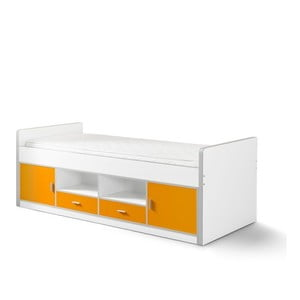 Bílo-oranžová dětská postel s úložným prostorem Vipack Bonny, 200 x 90 cm