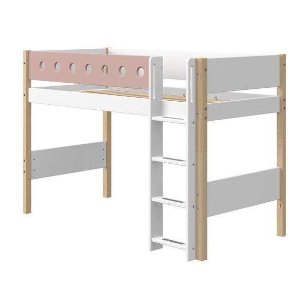 Ružovo-biela detská posteľ s nohami z brezového dreva Flexa White, výška 143 cm