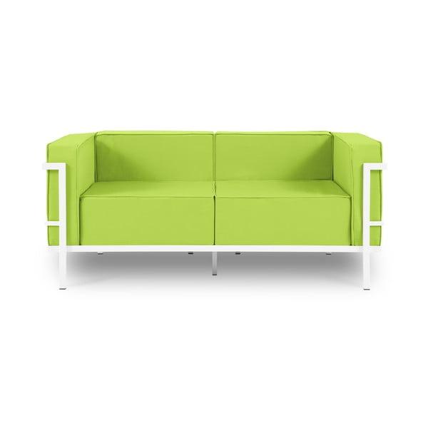Canapea cu două locuri, adecvată pentru exterior Calme Jardin Cannes, verde lime - alb