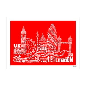 Plakát London Red&White, 50x70 cm