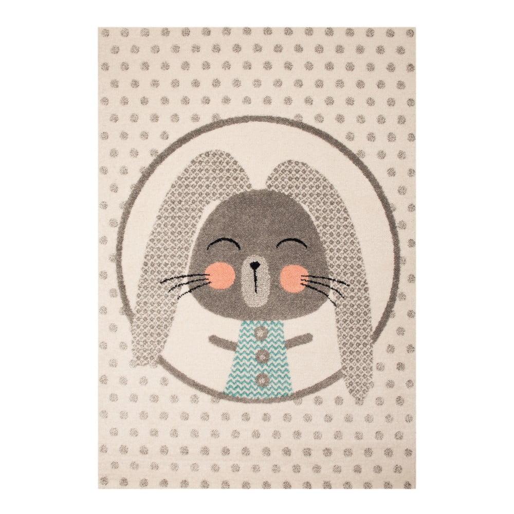 Béžový dětský koberec s šedými detaily Zala Living Rabbit, 120 x 170 cm