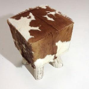 Taburetka Colo Hocker, hnědá/bílá