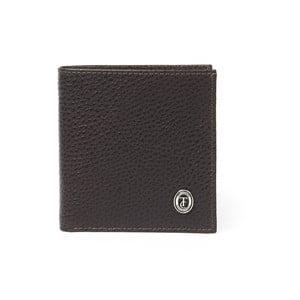 Hnědá pánská kožená peněženka Trussardi Dollar, 12,5 x 9,5 cm