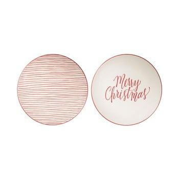Set 2 farfurii din gresie ceramică Bloomingville Joy, ⌀ 25 cm, alb