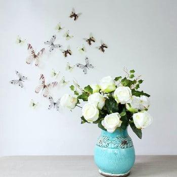 Set 18 autocolante adezive 3D Ambiance Butterflies Chic alb