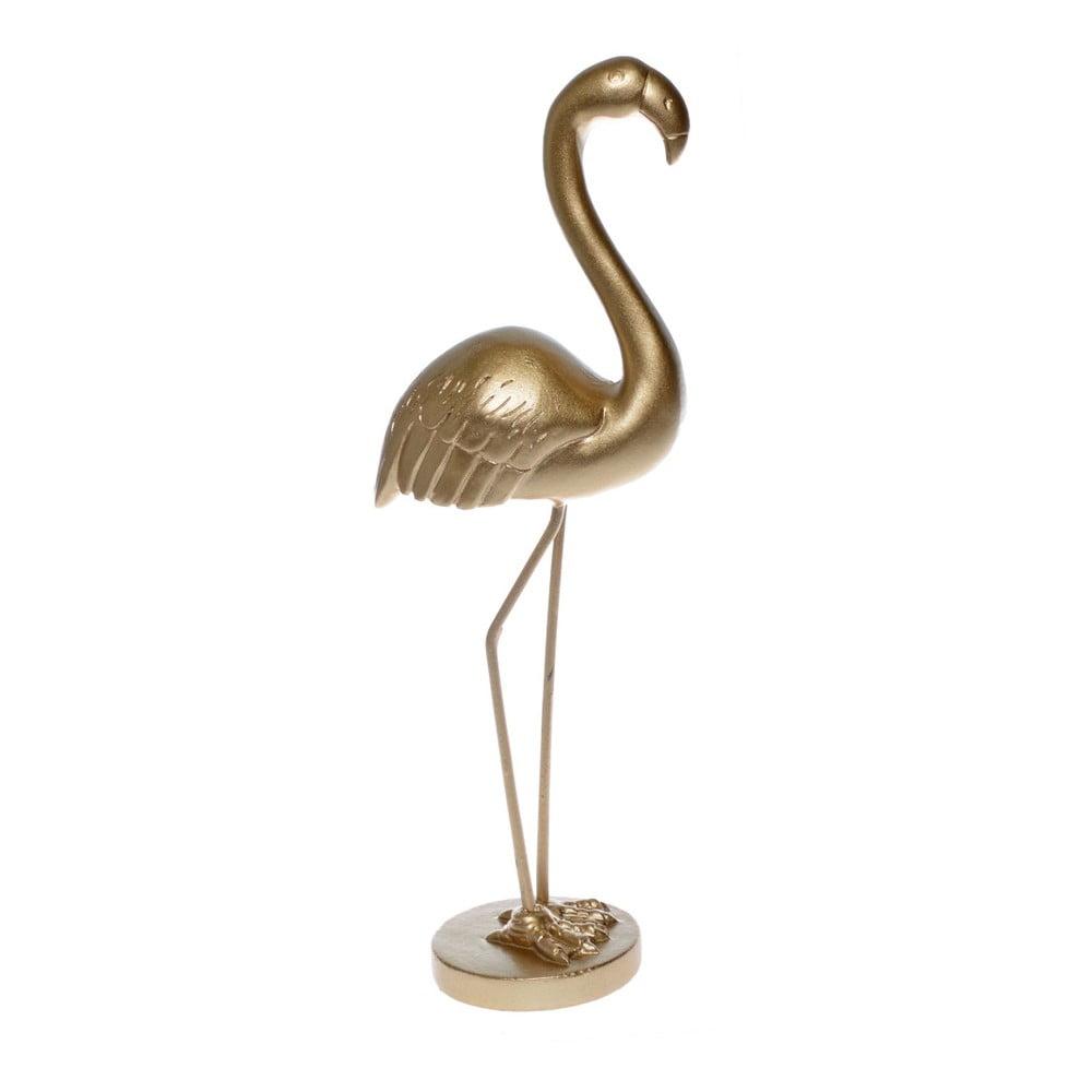 Dekorativní soška ve zlaté barvě Ewax Flamingo, výška 21 cm