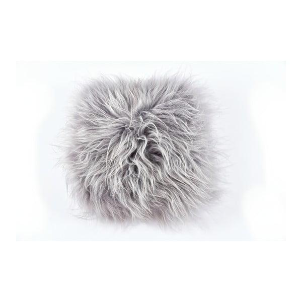 Pernă din blană cu fir lung Royal Dream Grey, 35 x 35 cm