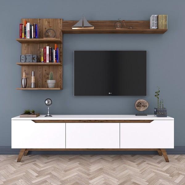 Zestaw szafki pod TV i 2 półek w dekorze drewna Nut