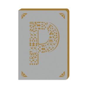 Blocnotes cu linii A6 cu monogramă Portico Designs P, 160 pag.