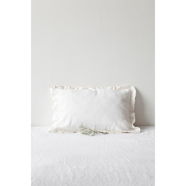Biała lniana poszewka na poduszkę z falbanką Linen Tales, 50x60 cm