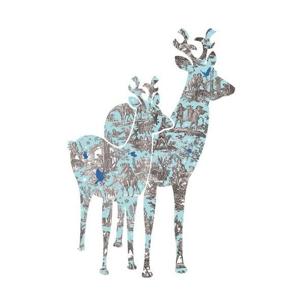 Samolepka na zeď Blue Bambi, 20x30 cm