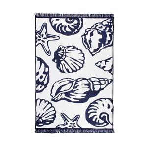 Modro-bílý oboustranný koberec Oyster, 80 x 150 cm