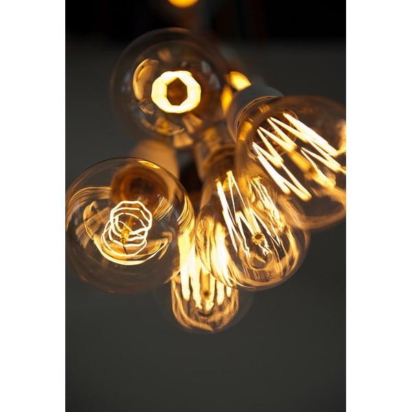 Závěsné svítidlo s 5 černými kabely a objímkou v měděné barvě Bulb Attack Uno