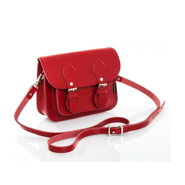 Kožená kabelka Satchel 18 cm, červená