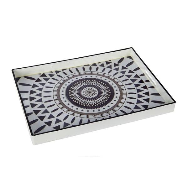 Plastový podnos, 48x35 cm, černo-bílý