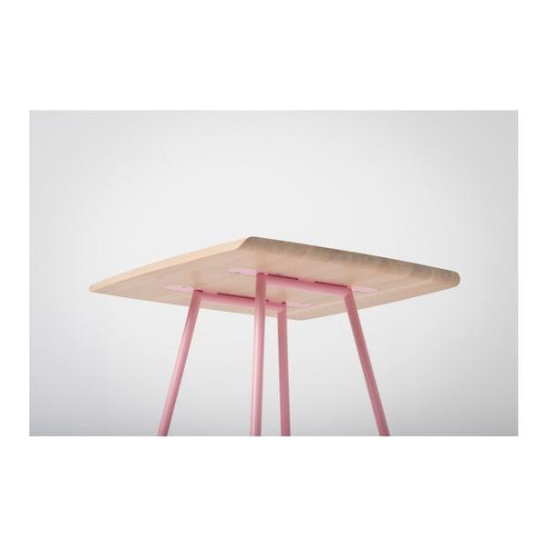 Barový stolek s deskou z masivního dubového dřeva a růžovými nohami Gazzda Leina