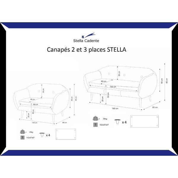 Šedá dvoumístná pohovka Stella