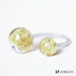 Béžový dvojitý prsten ze skla Enamor, vel. M