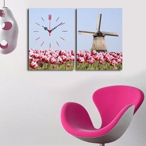 Obrazové hodiny Mlýn v tulipánech