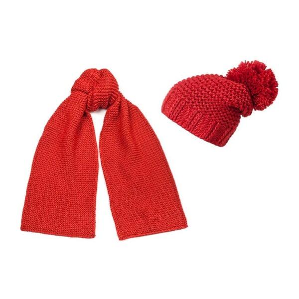 Červená čepice a šála Lavaii Elegant