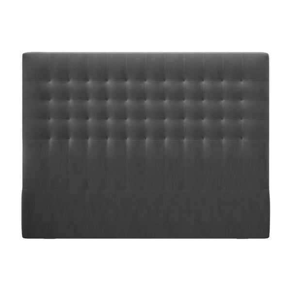 Ciemnoszary zagłówek z aksamitnym obiciem Windsor & Co Sofas Apollo, 200x120 cm