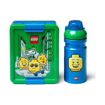 Set caserolă pentru gustări și sticlă LEGO® Iconic, verde - albastru imagine