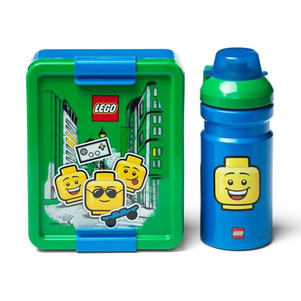 Set zeleno-modrého desiatového boxu a fľaše na pitie LEGO® Iconic