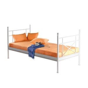 Bílá kovová jednolůžková postel Støraa Tanja, 90x200cm