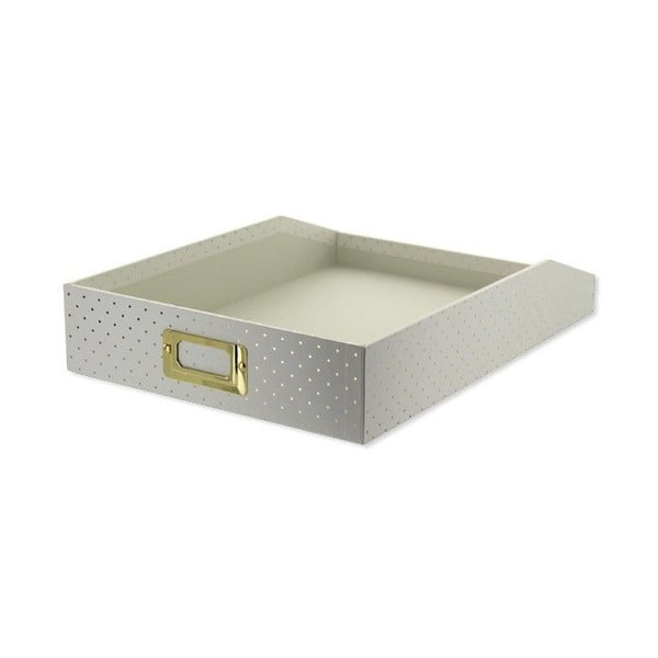 Tăviță documente Go Stationery Gold Polka Cream, mică
