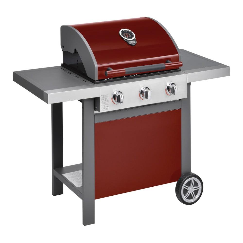 Červený plynový gril se 3 samostatně ovladatelnými hořáky, teploměrem a bočním ohřívačem Jamie Oliver BBQ