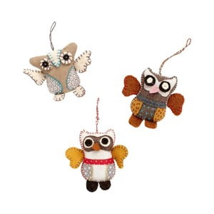 Set ozdob Mini Owls, 3 ks