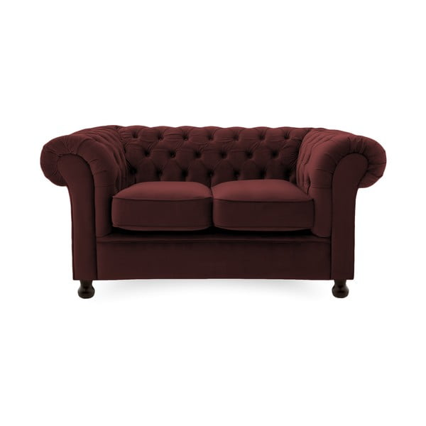 Canapea 2 locuri Vivonita Chesterfield, roșu închis