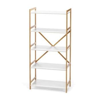 Etajeră cu 4 nivele, cu structură din bambus loomi.design Lora, alb imagine