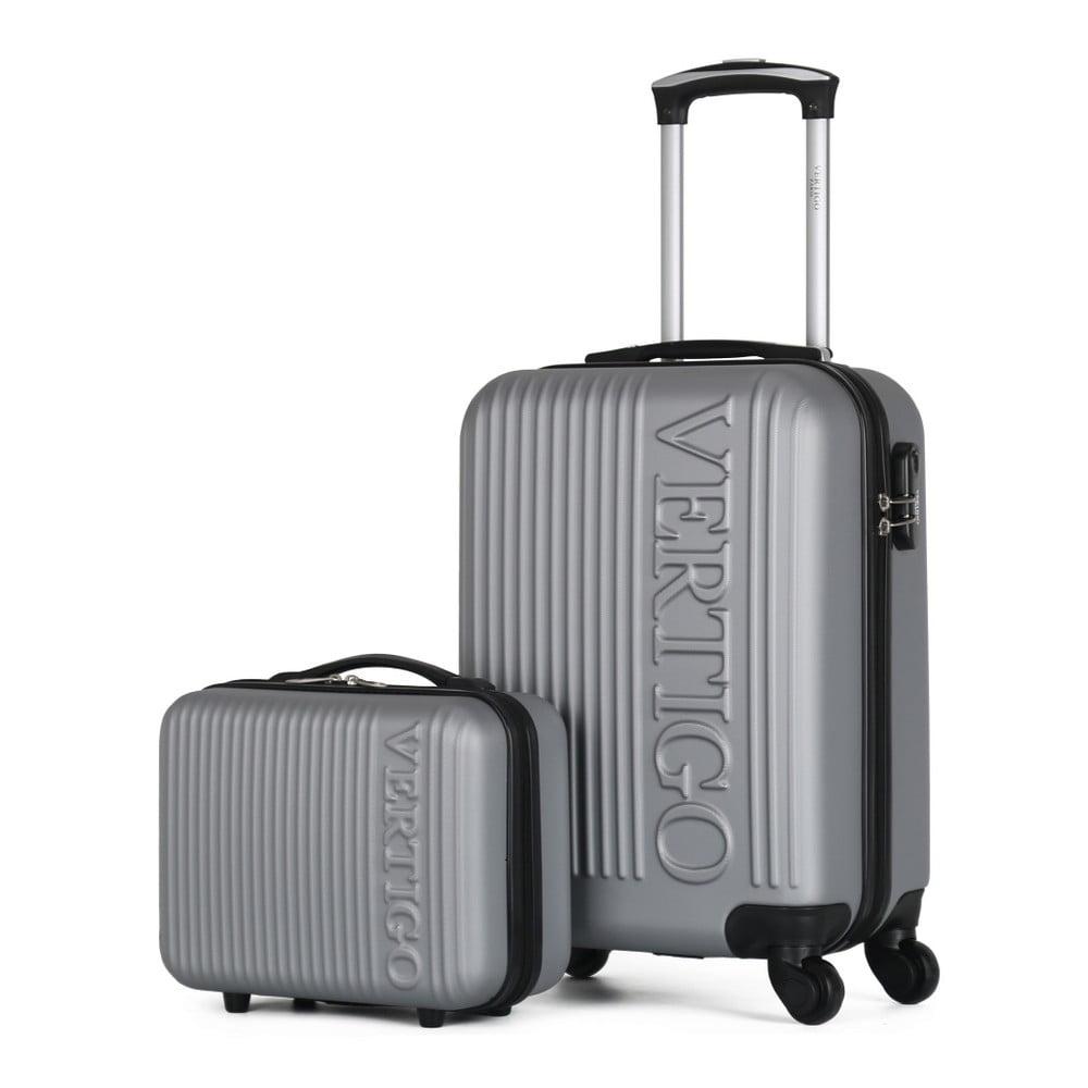 Sada 2 šedých cestovních kufrů na kolečkách VERTIGO Valises Cabine & Vanity Case