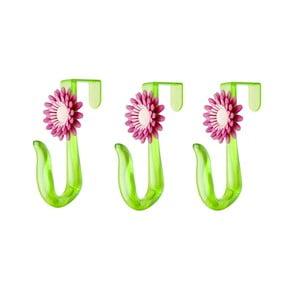 Set tří háčků na dveře Flower Power, vínová
