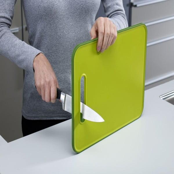 Slice&Sharpen zöld vágódeszka beépített késélezővel, hossza 30 cm - Joseph Joseph