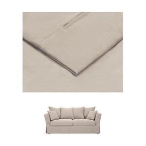 Béžový povlak na trojmístnou rozkládací pohovku THE CLASSIC LIVING Helene