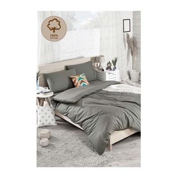 Lenjerie cu cearșaf din bumbac ranforce pentru pat dublu Duz Boya Dark Grey, 200 x 220 cm