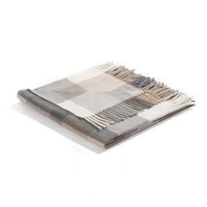 Pléd Biederlack Karo Grey, 170x130cm